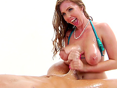 Sexy Lena is oiled up which means that she's ready to be dicked