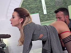 Katrin Tequila never refuses to receive the double penetration!