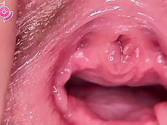 Cute brunette sex bomb explores her moist tunnel of love