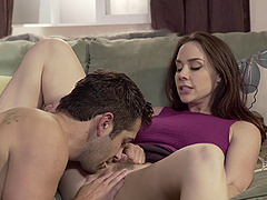 Chanel Preston spreads her legs for a skillful man's tongue