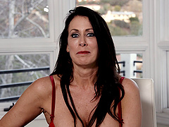 Skillful brunette Reagan Foxx knows how to choke on her lover's dick