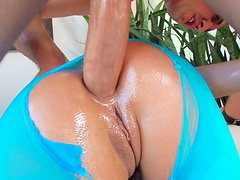 Alluring Adriana Chechik's tights ripped by a horny fellow