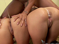 Blonde and a brunette get frisky with a fellow's fat dick