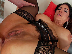 Stupefying Raven Hart has a massive dong up her nice booty