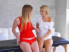 Pressley Carter enjoys a massage with a hot blonde lesbian