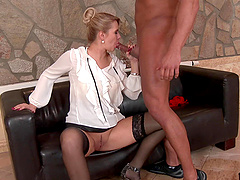 Black guy wants to seduce a naughty blonde woman for a fuck