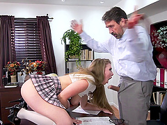 Lena Paul lifts up her skirt for a great fuck with a mature gentleman