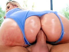 Curvy AJ Applegate teases a guy before being fucked hard