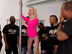 Sexy blonde Piper Perri has a blast with an army of black dicks