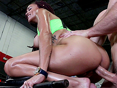 Julie Kay has a great time fucking a hunk in a gym