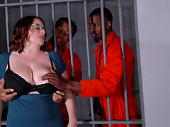 Chubby sweetheart Maggie Green has a great time with black prisoners