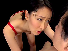 Awesome Asian model in lingerie giving cock blowjob