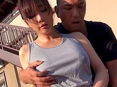 Japanese woman ravished hard by a kinky man during a nasty shag