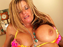 Nasty blonde MILF Kristal Summers spreads her legs for a cock