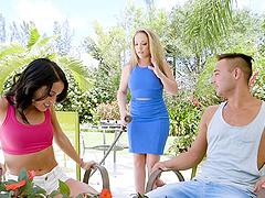 Lesbians Carmen Valentina and Megan Rain interrupted by a cock