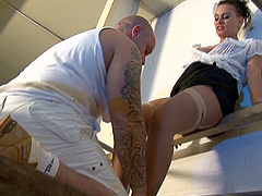 Painter gets to fuck the classy lady Eva May in brown stockings