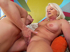 Anett is a nasty granny in need of an erected love tool