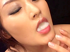 Risa Murakumi swallowing cum after superb blowjob