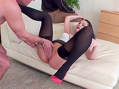 Hot ass model bend over taking monster cock hardcore