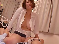 Moans as Asian doll rides massive dick hardcore