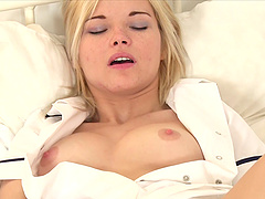 Blonde nurse Zazie Skymm wants to make her pussy wet using her fingers
