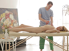 Karina Grand gets nailed during a formidable massage session