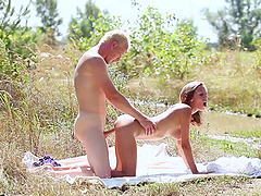 Natural tits Tracy moaning when ravished doggystyle outdoor