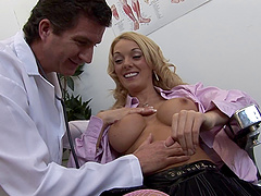 Fake tits blonde in stockings getting banged missionary