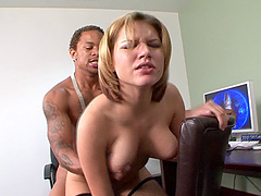 Leigh Livingston fucked hard in an office by a black lover