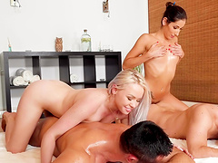 Lola Taylor and Clea Gaultier enjoy making a fellows' dicks stiff