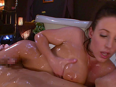 Oiled up chick seduces a guy with her stunning body