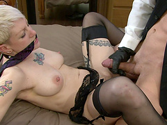 Miss Trixx tied up by her master for a magnificent fuck