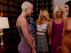 August Ames and Riley Nixon fuck in front of two sexy blondes