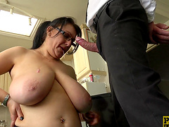 Mature lady Sabrina Jade bends over for a kinky sex game