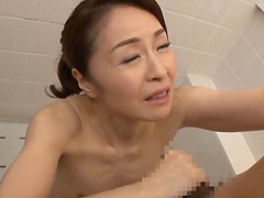 Asou Chiharu is a skinny Japanese woman enjoying a shower