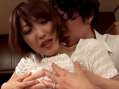 Asahi Mizuno lifts up her skirt for a nasty lover's prick