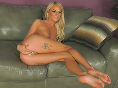 Sweet blonde Emma Hix bends over for her lover's boner