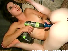 Two horny hussies put a toy on a drill and fuck each other