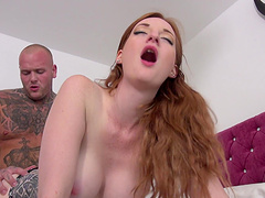 Stacked ginger stunner gets her orgasmic beaver plugged