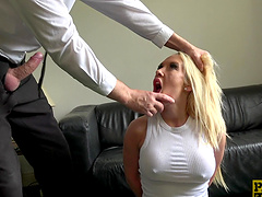 Lexi Ryder tied up during a kinky penetration game