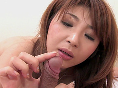 Maria Amane sucks a dick before having her pussy filled with semen