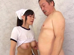 Mako Konno is a chick with glasses ready for a mature man's body