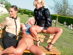 Insatiable lesbian chicks ravish each other's cunts on a bench