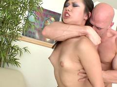 Asian chick Carmina Kai sprayed with semen after a hardcore fuck