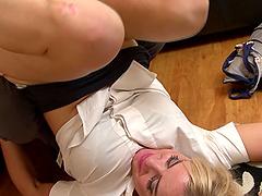 Blonde MILF Louis Loveheart rides her lover's huge boner