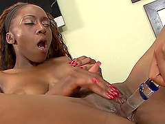 Ebony lesbian chicks are happy to make each other cum