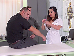 Kinky threesome session with busty nurse Tigerr Benson