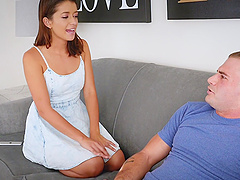 Izzy Bell is curious about a fortunate man's erected boner