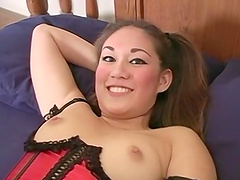 Asian cutie's face covered in sticky semen after a sex session