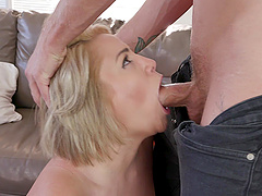 Alix Lovell sucks  dick before bouncing on it with her cunt